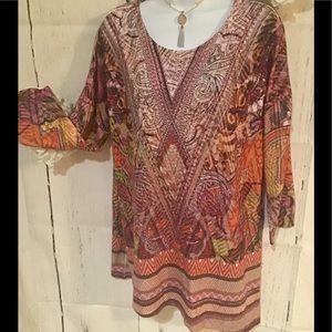 Womens tunic top Size L Jeweled Knit 3/4 Sleeve